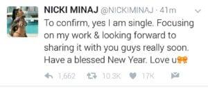 Nicki tweets after Meek break up