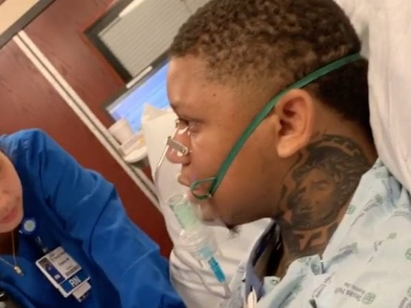 Yella Beezy in hospital bed