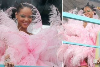 Rihanna Dressed In Pink Feathers At Carnival In Barbados
